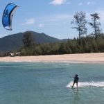 Playing Kite Surfing in Banda Aceh Ujong Pancu
